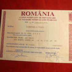 Cupon Nominativ de Privatizare, cal.F.Buna -Romania, Romania de la 1950