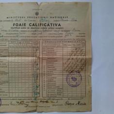 Foaie calificativa ( anii 1942- 1943) - Diploma/Certificat