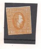 (No 2)timbre-Romania 1865-CUZA IN OVAL-2 parale portocaliu