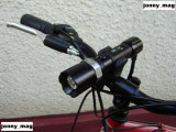 Far Bicicleta Power Light Silver cu Led Cree Q5 + Suport Rotativ + STOP Leduri