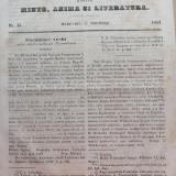 Foaia pentru minte , inima si literatura , nr. 45 , 1853 , Brasov , Director Iacob Muresanu, Alta editura