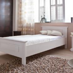 Pat de o persoana lemn masiv de rasinoase - Pat dormitor, Simplu, Pat de mijloc