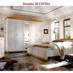 Dormitor cu pat dublu din lemn masiv de rasinoase - Dormitor complet