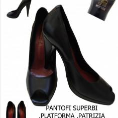 PANTOFI PIELE, PLATFORMA, MADE IN ITALIA-PATRIZIA RIGOTTI, LIVRAREA Gratuita - Pantof dama, Culoare: Negru, Marime: 38, Cu toc