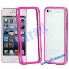Bumper roz transparent iphone 5 5G + folie protectie ecran