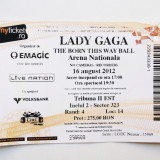 BILET DE COLECTIE CONCERT LADY GAGA 16 AUGUST 2012 BUCURESTI ARENA NATIONALA **