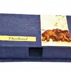 AuX: Cutie de trabucuri cu elefanti, veche, tailandeza - Thailand! - Tabachera