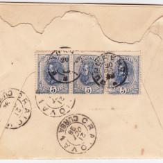 Plic circulat Bucuresci-Craiova 1898, francat cu 3 timbre de 5 bani