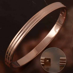 Bratara ovala fixa filata cu aur roz - gold filled 1/20 aur 10k 6gr(ultima tehnologie mai rezistenta decat placata) noua 6*5cm saculet cadou - Bratara placate cu aur Swarovski, Femei