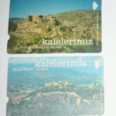 Set 2 buc - Cartela - Arta - Istorie - Cetatea Antalya si Iskenderun - Turcia - 2+1 gratis toate licitatiile - CHA129 - Cartela telefonica straina