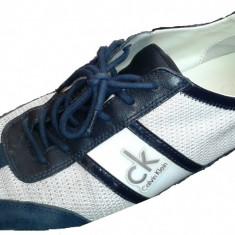 Pantofi Calvin Klein-Piele-Numarul 43 - Pantof barbat Calvin Klein, Culoare: Alb, Piele naturala, Alb