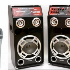 2 BOXE ACTIVE/AMPLIFICATE CU MIXER INCLUS,MP3 PLAYER USB,EFECTE+2 MICROFOANE.