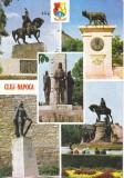Carte Postala  Cluj-Napoca  Monumentul lui Mihai Viteazul , Stauia lui Baba Novac , Monumentul lui Horia Closca si Crisan , Statuia Lupoaica Romei ...