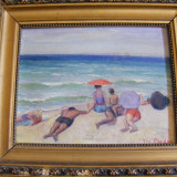 Reducere La plaja semnat Geo Cardas, Scene gen, Ulei, Realism