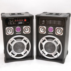 SISTEM BOXE CU AMPLIFICARE SI MIXER INCORPORAT,ORGA LUMINI ,250 WATT,RADIO+2 MICROFOANE BONUS.