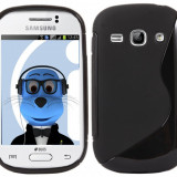 HUSA PROTECTIE TPU SAMSUNG GALAXY FAME S6810 MODEL S LINE BONUS FOLIE PROTECTIE - Husa Telefon Samsung, Negru, Gel TPU