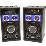 SISTEM 2 BOXE ACTIVE/AMPLIFICATE CU MIXER INCLUS,MP3 PLAYER,EFECTE VOCE+BONUS 2 MICROFOANE.