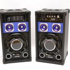 SISTEM 2 BOXE ACTIVE/AMPLIFICATE CU MIXER INCLUS, MP3 PLAYER, EFECTE VOCE+BONUS 2 MICROFOANE. - Boxa activa