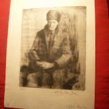 Bogdan Stihi - Batran sezand -Gravura 1/8, dim. =13x16 cm - Pictor roman