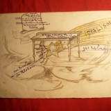 Caricatura Militara interbelica -Grupul Vanatorilor de Munte - Pictor roman