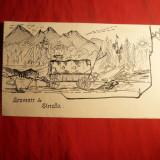 Tus -Caricatura - SINAIA, semnat A, dim. 17.5 x 11 cm - Pictor roman