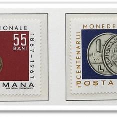 1 BANU 1867 SI 1 LEU 1966 UNC - Timbre Romania, An: 1967, Nestampilat
