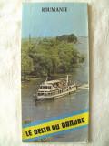"""ROUMANIE - LE DELTA DU DANUBE"", Ministerul Turismului. Harta turistica Delta Dunarii, epoca socialista. Text in limba franceza. Absolut noua"