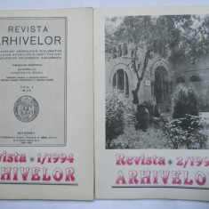 REVISTA ARHIVELOR,2 NUMERE 1 SI 2 PE 1994,BUCURESTI