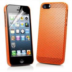 Husa portocalie orange silicon rigid  iphone 5 + folie display