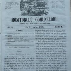 Principatele Unite , Monitorul comunelor , nr . 25 , Joi 21 Iunie , 1862