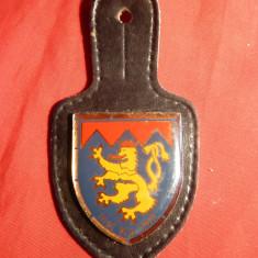 Insemn Militar Belgia , metal ,email ,piele ,h= 3,7 cm