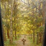 PEISAJ FEMEIA CU VREASCURI IN PADURE - Pictor roman, Peisaje, Impresionism