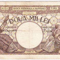 2) Bancnota, 2000 lei 10 octombrie 1944, filigran Traian - Bancnota romaneasca