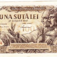 Bancnota 100 lei 27 august 1947, filigran BNR, XF, Rara - Bancnota romaneasca