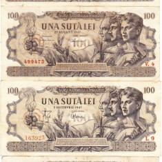 1) SERIE COMPLETA, 100 lei 1947, 25 iunie-F.RARA, 27 august RARA, 5 dec.filigran BNR, 5 dec.filigran RPR-EXTREM DE RARA, calitate-VF-XF - Bancnota romaneasca
