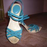 Sandale ZARA Piele intoarsa!! Superbe! - Sandale dama Zara, Culoare: Turcoaz, Marime: 38, Turcoaz