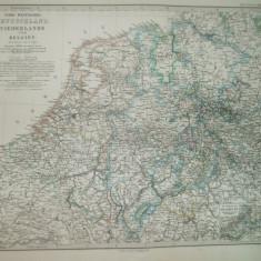 Harta Germania de Nord - vest, Olanda, Belgia Gotha Justus Perthes 1867 de C. Vogel