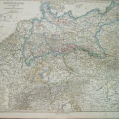 Harta Germania Gotha Justus Perthes 1867 de H. Berghaus si G. Hirth