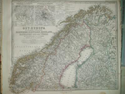 Harta Norvegia, Suedia, Rusia, Caucaz si Turcia Gotha Justus Perthes 1866 de A. Petermann foto