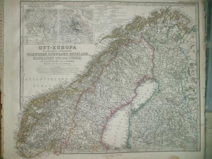Harta Norvegia, Suedia, Rusia, Caucaz si Turcia Gotha Justus Perthes 1866 de A. Petermann