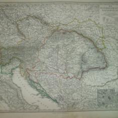Harta Imperiul Austriac Gotha Justus Perthes 1866 de C. Vogel
