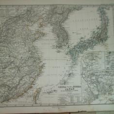 Harta China de Est, Coreea si Japonia 1867 Gotha Justus Perthes de A. Petermann