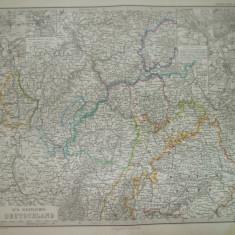 Harta Sud - vest Germania Gotha Justus Perthes 1868 de C. Vogel