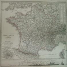 Harta Franta si Elvetia Gotha Justus Perthes 1866 de H. Berghaus