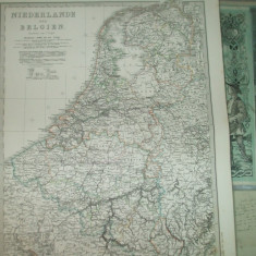 Harta Olanda si Belgia Gotha Justus Perthes 1866 de C. Vogel