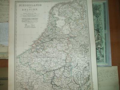 Harta Olanda si Belgia Gotha Justus Perthes 1866 de C. Vogel foto
