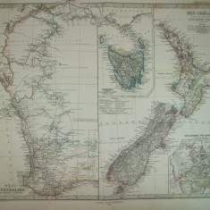 Harta Noua Zeelanda Gotha Justus Perthes 1866 de A. Petermann