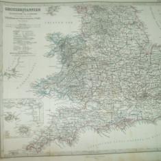 2 harti Marea Britanie 1866 Gotha Justus Perthes de A. Petermann