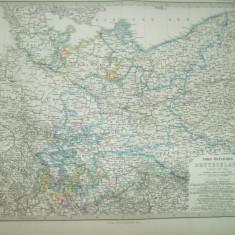 Harta  Germania de Nord - est Gotha Justus Perthes 1866 de C. Vogel