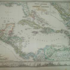 Harta Indiile de Vest si America Centrala Gotha Justus Perthes 1866 de H. Berghaus